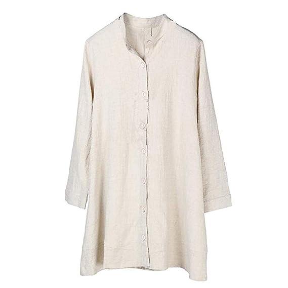 Camisa de Algodón para Mujeres Tapa de Lino Manga Larga de otoño Escudo ❤ Manadlian: Amazon.es: Ropa y accesorios