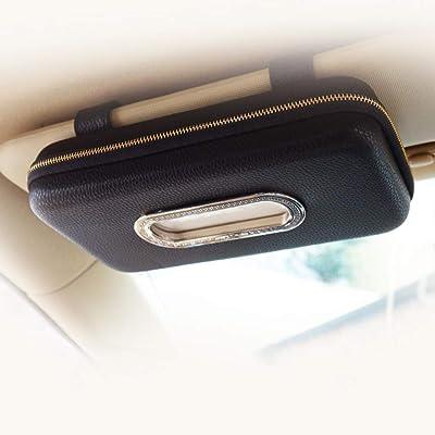 Cartisen Car Tissue Holder, Sun Visor Napkin Holder, Car Visor Tissue Holder, Luxury PU Leather Backseat Tissue Case Holder (Black): Automotive
