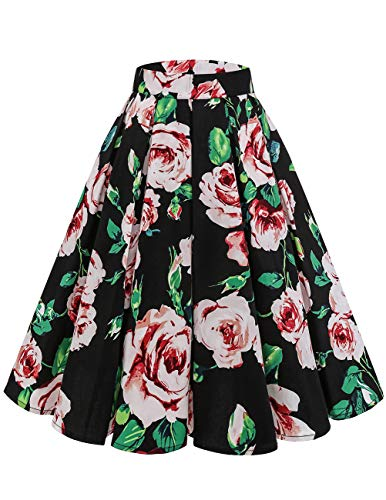 Bridesmay Women's Vintage Pleated Skirt Floral Printed A-line Swing Skirt with Pockets Black Ink Flower 2XL