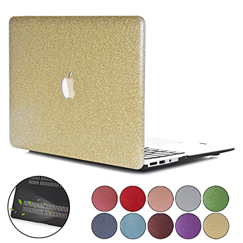 PapyHall MacBook Air 13 inch Case, Bling Bling Crystal Rubberized Coated Hard Cover Case Colored Glitter Design Plastic Hard Case for Apple Macbook Air 13 inch Model : A1369/A1466 - Gold