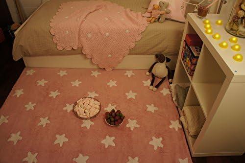 Tapis de sol enfant 120x160 cm Rose /étoiles blanches PROMOTION
