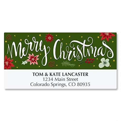 Poinsetia Wish Personalized Christmas Address Labels - Set of 48, self-stick