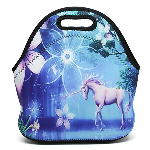 Boys Girls Kids Women Adults Insulated School Travel Outdoor Thermal Waterproof Carrying Lunch Tote Bag Cooler Box Neoprene Lunchbox Container Case (Cute Unicorn) ()