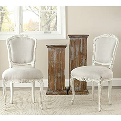 Safavieh American Homes Collection Provence French Antique Beige Upholstered  Side Chair (Set of 2) - Amazon.com - Safavieh American Homes Collection Provence French