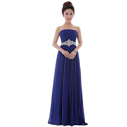 My Wonderful World Women's Full-length Strapless Evening Dresses with Rhinestone