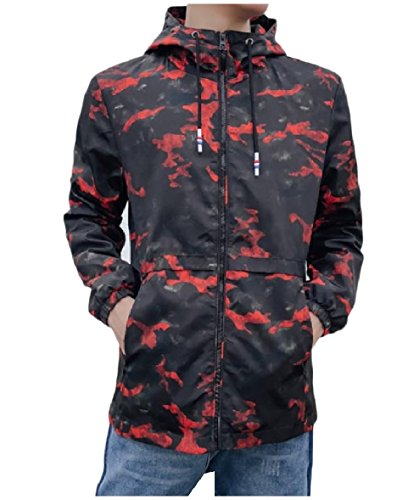 Pockets Mens Multicamo Tops Red Jacket XINHEO Zip Full Windproof Hood 74qwXT