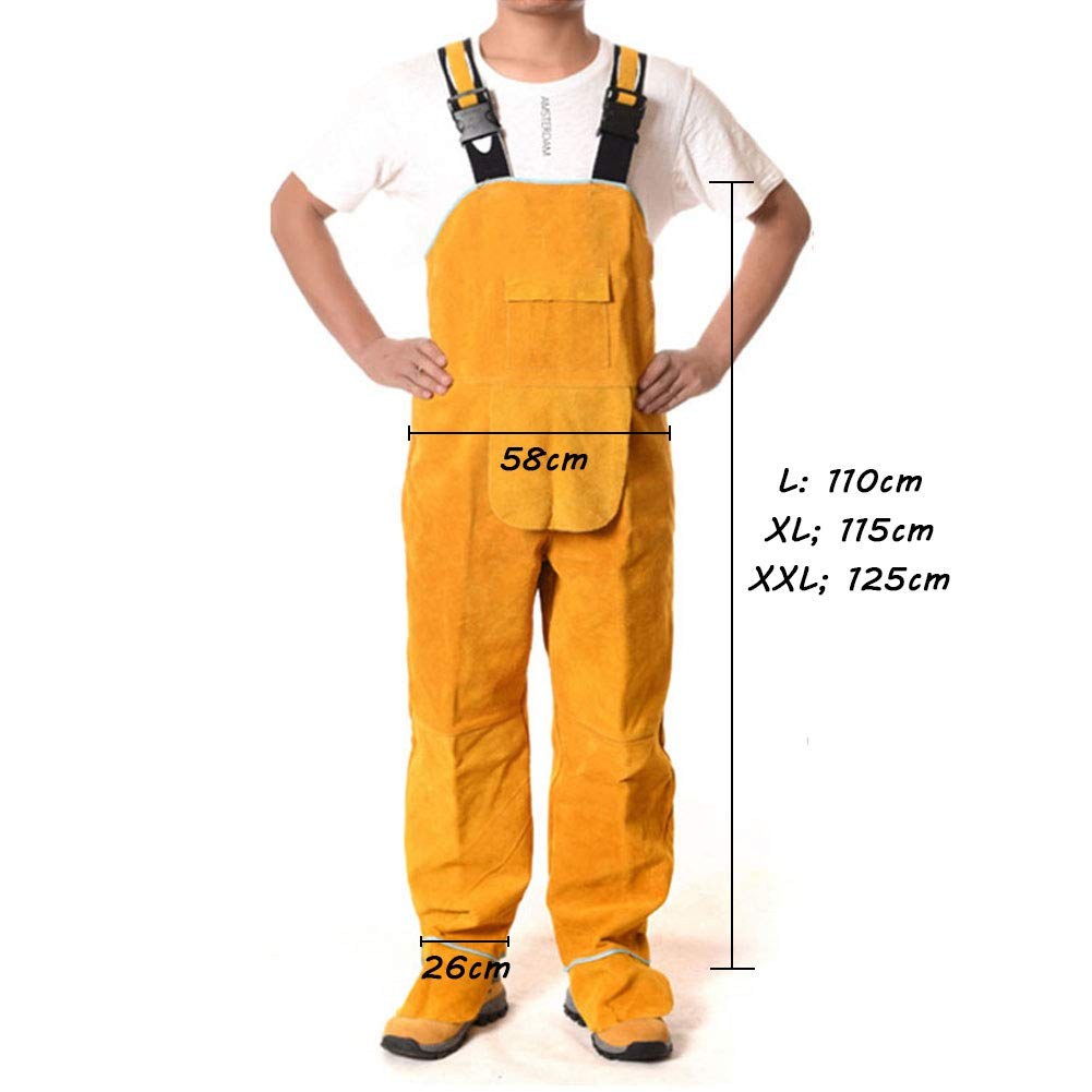 LAIABOR Welding Apron bib Jumpsuit Overalls Protective Foot Safety Apparel for Electrical Weld, Cutting, Casting, Lathe, Steel, Smelting Retardant wear Resistant,Yellow,XXL by LAIABOR (Image #7)