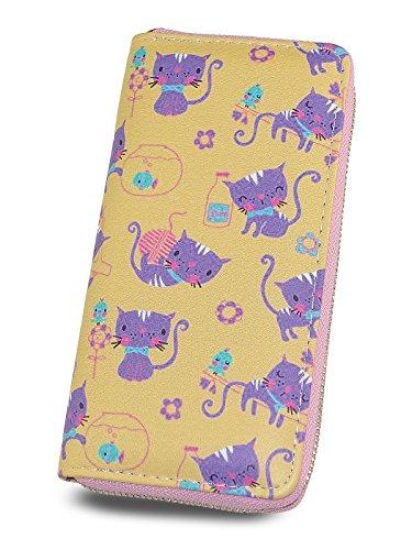 Zipper Clutch Wallet for women and teen girls, Print Lovely Cat, Lady Purse by TZECHO