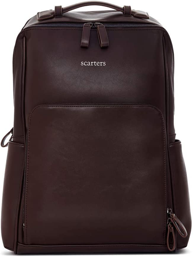 Scarters | Ultimate Laptop Backpack for Business Travel in Splash-Proof Vegan Leather: Lexicon ~ Rich Brown