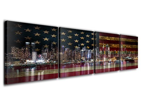 American Bustling Metropolis New York City Lights Night View Watermark Reflection National Flag Background Modern Decorative Oil Painting Wall Art Canvas Prints Ready to Hang 12X12 4 Panel by Pixel