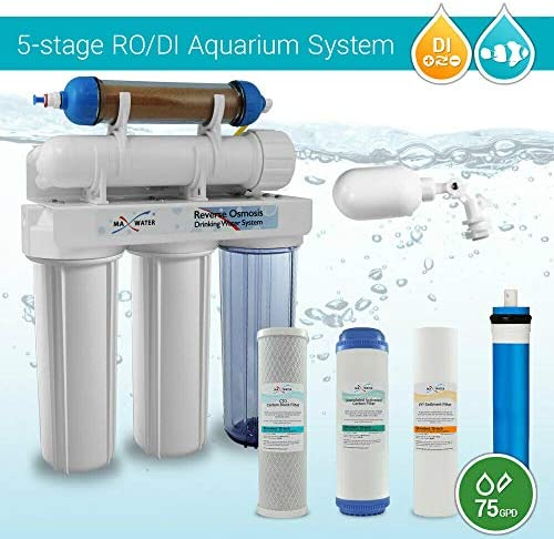 HM Inline TDS Meter 75 GPD with Booster Pump Max Water 6 Stage Reef Aquarium Reverse Osmosis System//Reverse Osmosis System//RO Water Filtration System//RO Water Purifier RODI System
