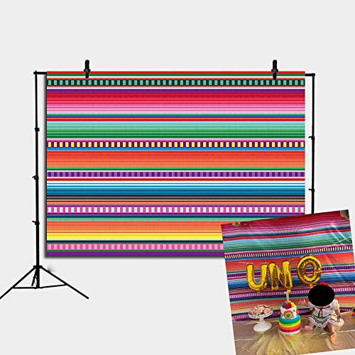 RUINI Fiesta Theme Party Color Stripes Backdrop Cinco De Mayo Mexican Festival Photography Decoration Paper Flower Background 7x5FT]()