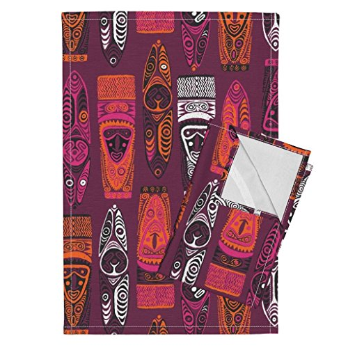 Roostery Tiki Tea Towels Purple Hawaiian New Guinea Masks 2B Tiki Tiki Tapa Aloha Hawaii Primitive Jungle Safari by Muhlenkott Set of 2 Linen Cotton Tea Towels