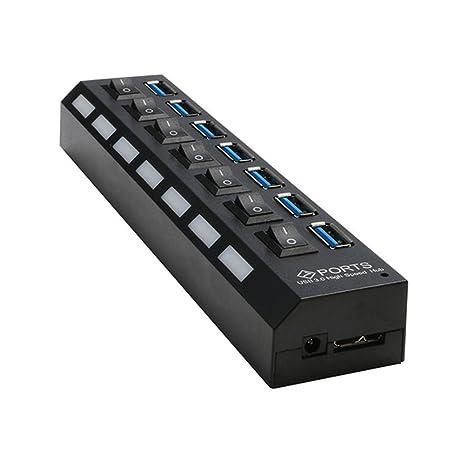 LEDMOMO 7 Puertos USB 3.0 Hub Divisor con Interruptor de Potencia Individual para Ordenador Portátil PC
