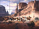 Artwork On Tile Ceramic Tile Mural Backsplash Western Art Sandstone and Stolen Horses by Jack Sorenson - Kitchen Bathroom Shower (24'' x 18'' - 6'' tiles)