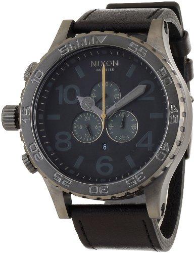 [ニクソン]NIXON 5130 CHRONO LEATHER ALL GUNMETAL/BLACK NA124680-00 メンズ