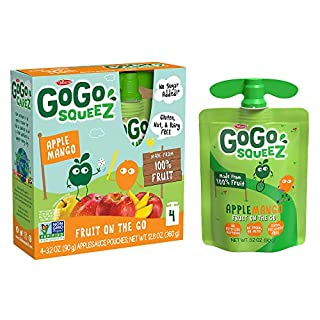 GoGo squeeZ Applesauce, Apple Mango, 3.2 Ounce (48 Pouches), Gluten Free, Vegan Friendly, Unsweetened Applesauce, Recloseable, BPA Free Pouches