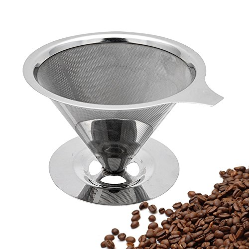 TOPHOME Paperless Pour Over Coffee Filter, 304 Stainless Steel Reusable Drip Cone Coffee Filter, Single Cup Coffee Brewer, Coffee Maker Filter
