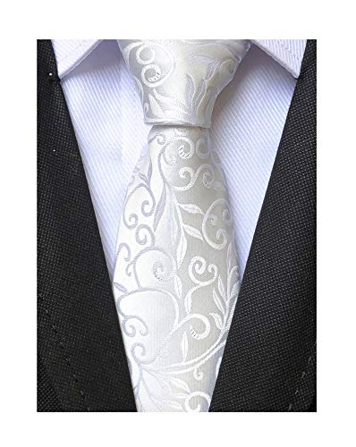 Mens Silk White Tie Floral Pattern 3.15