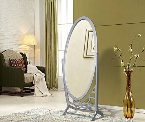Iconic Home Bowery Mirror Modern Free standing Spindle accent legs  Floor Mirror, Silver