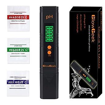 GlowGeek Digital PH Meter / PH Tester / Mini Water Quality Tester For  Household Drinking Water