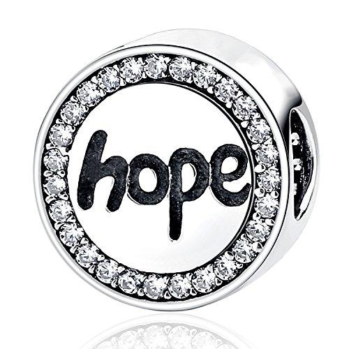 Faith Love Heart Hope Charm - MallDou Jewelry Angel Wing Heart Shape Charm Gold Plated Bead Charms for Pandora Charms Bracelet Necklace (Hope Charm)