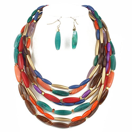 KOSMOS-LI Fashion Statement Multi Color Layer Necklace With Earrings Set Costume Jewelry
