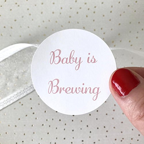 40 Baby is Brewing Sticker | Baby Shower Favor Bag Circle Sticker | Baby Girl Pink Favor Bag Gift Label | Envelope Seal Package (Baby Brewing Shower Favors)