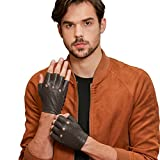 GSG Punk Rock Studs + Cool Perforated Motorcycle Fingerless Gloves Mens Half Finger Hip Hop Gloves Genuine Leather Driving Cycling Lt. Brown 10