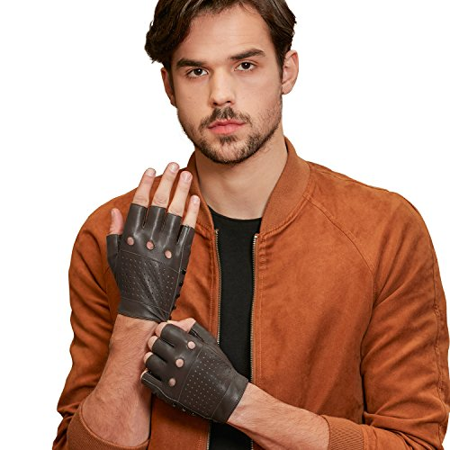 GSG Punk Rock Studs + Cool Perforated Motorcycle Fingerless Gloves Mens Half Finger Hip Hop Gloves Genuine Leather Driving Cycling Lt. Brown 10 by GSG