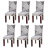 Fuloon 2 4 6 Pack Super Fit Stretch Removable Washable Short Dining Chair Protector Cover Seat Slipcover for Hotel Dining Room Ceremony Banquet Wedding Party (6, Style 08)