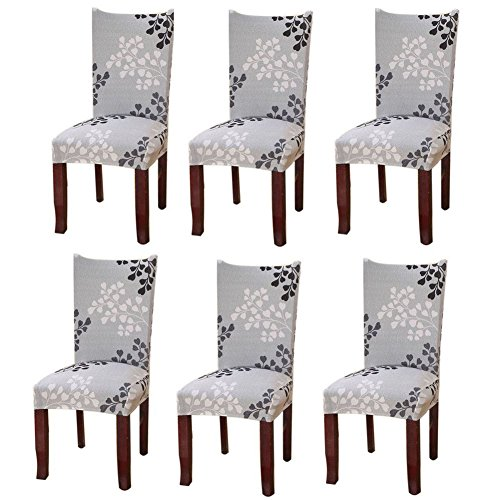 Fuloon Universal Stretch Short Removable Dining Chair Seat Covers Slipcovers Wedding Party (6 Per Set, A) (Height Seat Inch Chair 21)