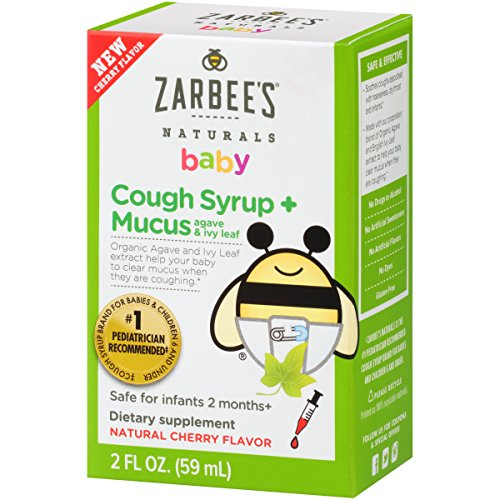 Zarbee's Naturals Baby Cough Syrup + Mucus with Agave & Ivy Leaf, Natural Cherry Flavor, 2 Ounce Bottle (Best Medicine For Mucus)