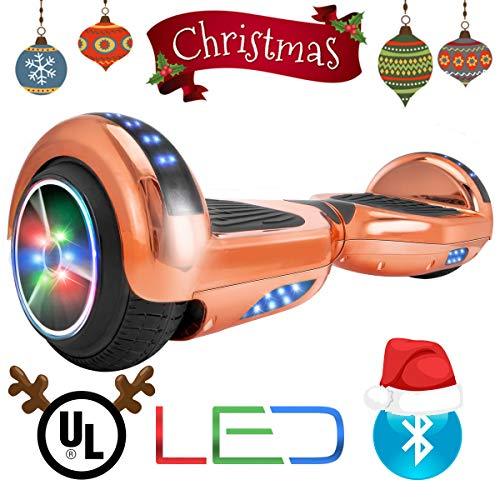 XtremepowerUS Self Balancing Scooter Hoverboard UL2272 Certified, w/Bluetooth Speaker and LED Light (Rose ()