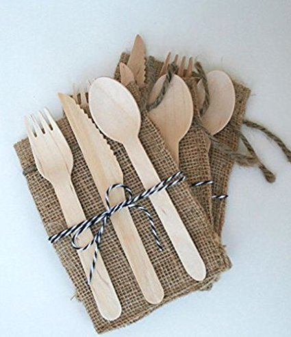 Price comparison product image 300 Pieces Disposable Wooden Cutlery Set by Easy Life Creations with 100 Forks 100 Knifes 100 Spoons / 100% Eco-Friendly Disposable Silverware,  Birch Wood,  Biodegradable,  Compostable Utensils / EBOOK