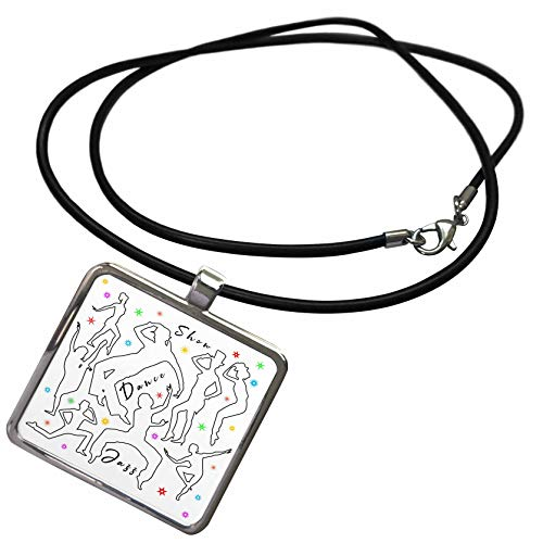3dRose Alexis Design - Dance - Black Outlined Dancer Silhouettes, Colorful Stars. Show, Dance, Jazz - Necklace with Rectangle Pendant (ncl_295055_1)