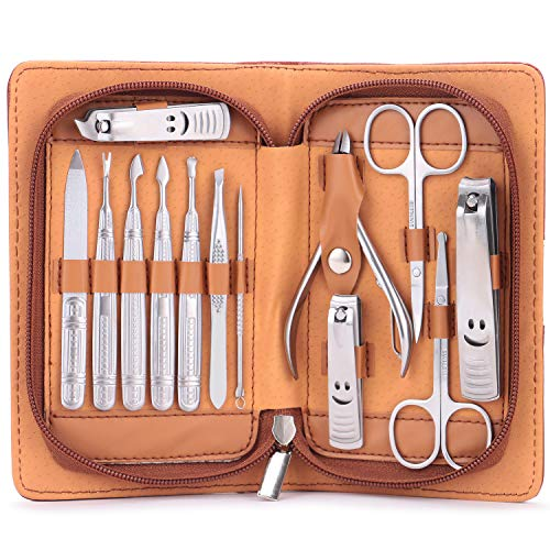 (Manicure Set, MH ZONE 13 Pieces Stainless Steel Grooming Kit Sets with PU Leather Case, Perfect Christmas Gifts for Women)