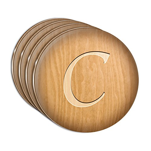 - Letter C Wooden Engraving Acrylic Coaster Set of 4