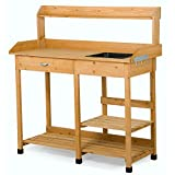 Yaheetech Outdoor Garden Potting Bench Table Planter Workbench Workstation with Sink Drawer Rack