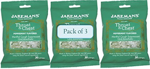 Jakemans Throat and Chest Lozenges, Peppermint, 30 Count (Pack of 3) by Jakeman's