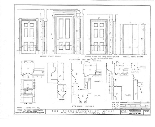Historic Pictoric Blueprint Diagram HABS NJ,16-PAT,4- (Sheet 11 of 13) - Bernard Hartley House, 158-160 West Broadway, Paterson, Passaic County, NJ 14in x 11in]()