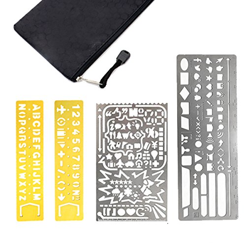 Dreecy 4 Pack Stainless Steel Grinding and Polishing Large Hole Metal Paint Stencils Drawing Templates Scale Ruler with Not Sharp Edge for Bullet Journal, Planner, Scrapbooking and Craft Projects