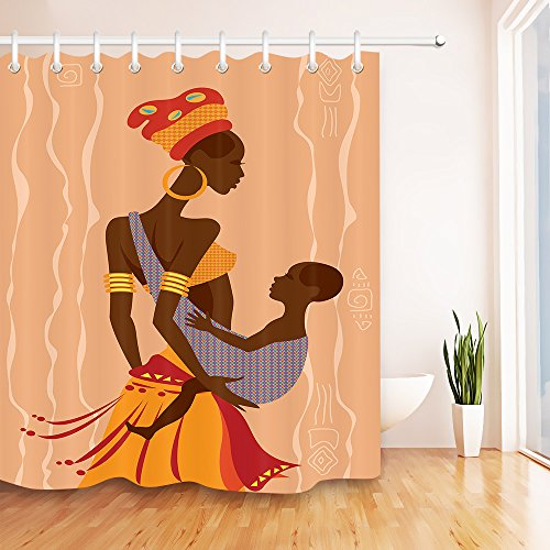 LB Black Woman in Tribal Costume and Baby Shower Curtain Set for Bathrooms, African Theme Decor Curtain, 70x70 Shower Window Curtain Set Waterproof Mildew (Egyptian Cat God Costume)