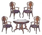 Melody Jane Dollhouse Monte Carlo Game Table & Chairs Walnut Platinum Suite