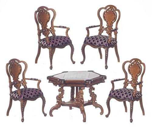 Melody Jane Dollhouse Monte Carlo Game Table & Chairs Walnut Platinum Suite by Melody