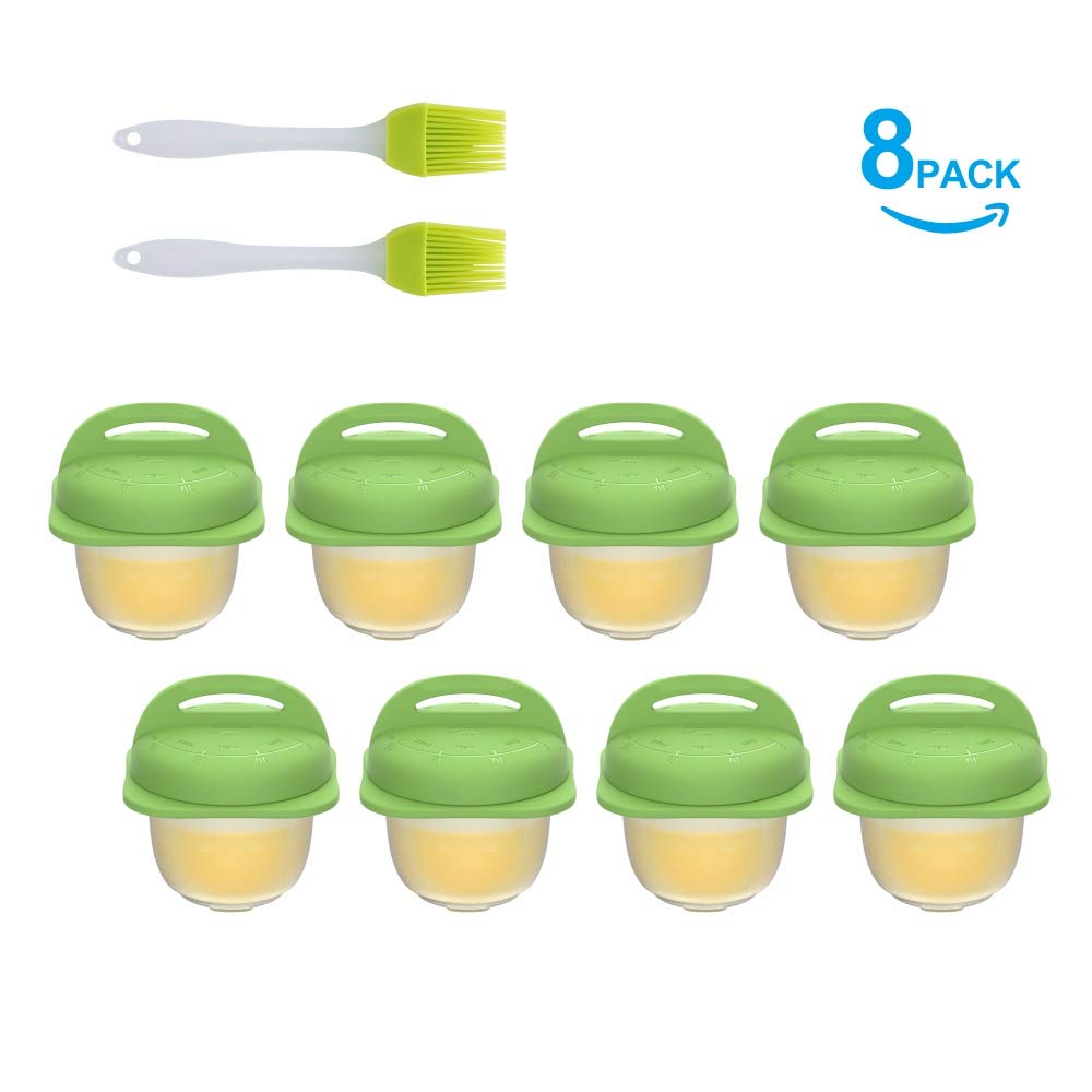 Premium Silicone Egg Poacher - Easy Pop-out System - Integrated Time Instruction - Anti Flip Collar - Egg Cracker - Egg Cooker Cups for Hard Boiled Eggs - Easy to Transfer -2 Box, 4 Pcs& 1 Brush/Box