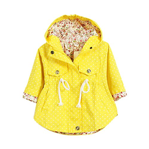 Shouhnegda Children Girls Outerwear Hooded Polka Dot Jackets Coats Hoodies Coats 5-6Y (Yellow Coat Winter)