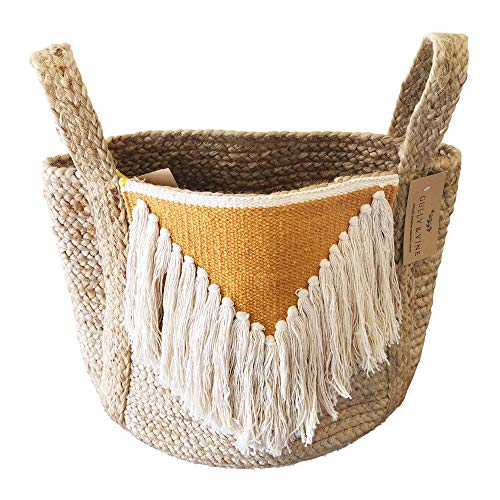 - Jute Basket Planter with Handles - Modern Natural Woven Boho Décor Used as Indoor Pot Plant Cover for 11 inch Pot, Storage Organizer, Toys, Laundry - 13 inch x 12 inch H x 14 inch - by Gully and Vine