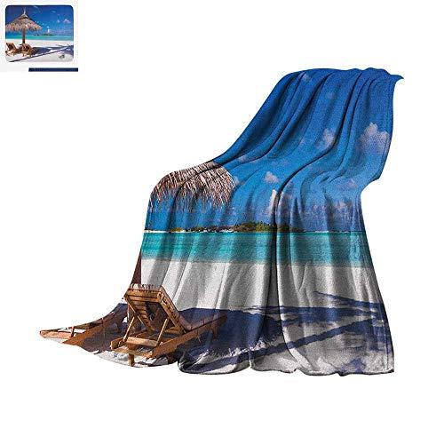 Landscape Digital Printing Blanket Island Caribbean Honeymoon Themed Beach Seashore Ocean Print Oversized Travel Throw Cover Blanket 80