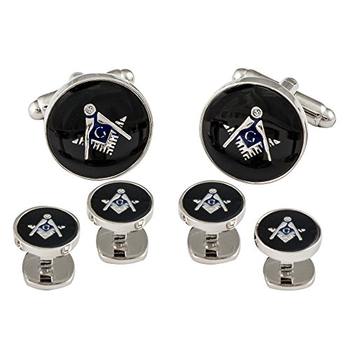 Cuff-Daddy Freemason Masonic Cufflinks Studs Silver Black with Presentation Box